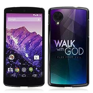 Paccase / Dura PC Caso Funda Carcasa de Protección para - BIBLE Walk With God - Flee From Evil - LG Google Nexus 5 D820 D821