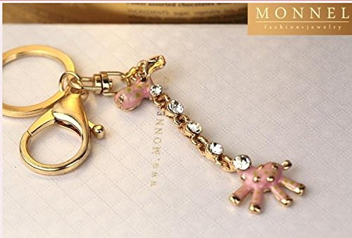 Z625e Cute Wild Animal Long Neck Crystal Giraffe Charm Keychain with (Giraffe Crystal Jewelry)