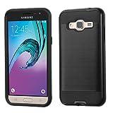 Samsung Galaxy J3V, Sky, Express Prime, Amp Prime Case, Galaxy Sol, J3 Case - Wydan Hybrid Hard Shockproof Case Heavy Duty Protective Brushed Phone Armor Protector Cover - Black on Black