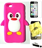 Bukit Cell ® Bundle - 4 Items: Bukit Cell ® HOT PINK Penguin Soft Silicone Case for Iphone 5C, Bukit Cell ® Cleaning Cloth, Screen Protector and Metallic Stylus Touch Pen with Anti Dust Plug