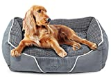 Soft Dog Bed - Dog Bed Cat Pet Bed Machine Washable Luxury Rectangle Bed with Soft Detachable Cushion for Small & Medium Pet