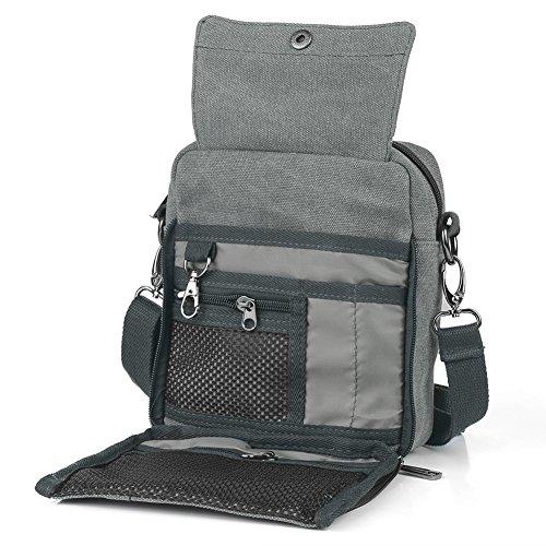 Koolertron Vintage Canvas Multifunction Crossbody Shoulder Bag Men's Lightweight Small Satchel Bag Waist Bag (Grey)