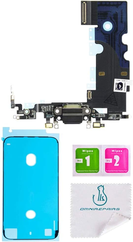 OmniRepairs Charging USB Dock Port Flex Cable Replacement with Microphone Compatible for iPhone 8 Model (A1863, A1905, A1906) with Pre-Cut Adhesive (Black/Space Gray)