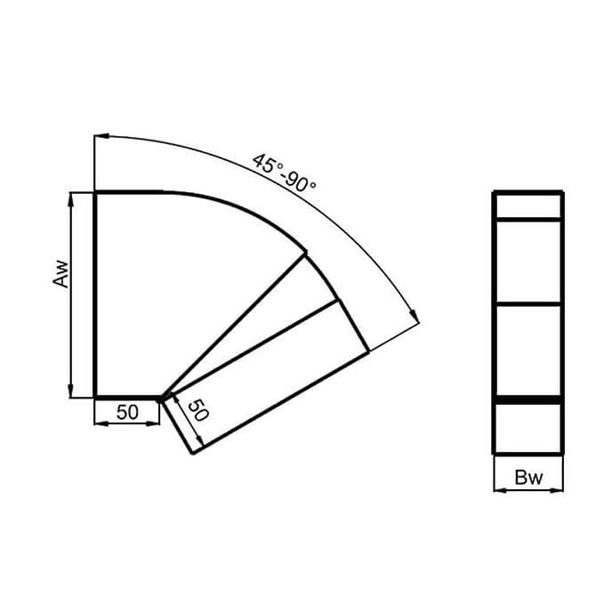 90/° f/ür waagerechten Einsatz f/ür den Transport von Kaltluft//Warmluft 250 x 50 mm Flachkanal Bogen verstellbar 45/°