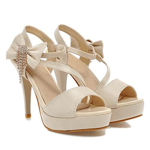 ZXCB Femmes Peep Toe Bow Tie Talons Hauts Plate-Forme Strappy Party Wedding Prom Sandales Chaussures Taille Beige VYUFIhLV