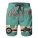 Richard Lyons Poster Print Of A Classic Vintage Automobile Nostalgia Rally Antique Machine Men's Quick Dry Beach Shorts Casual Comfortable Surf Shorts XL