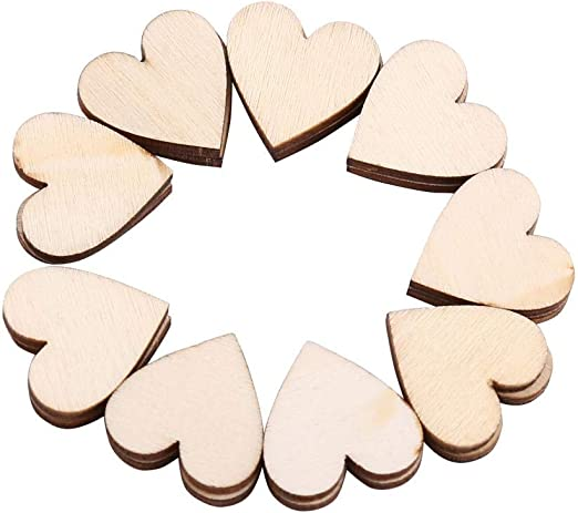 WINOMO 50pcs coraz/ón madera rodajas discos para manualidades adornos para Navidad Boda DIY 6cm