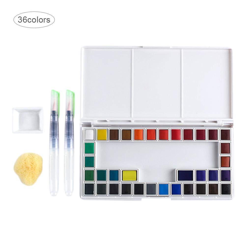 Nishci Home Set di Pittura ad acquerelli Solidi con Pennello Acquarello Trasparente per Acquerello Materiali per acquerelli 18//24//36//48 Colori