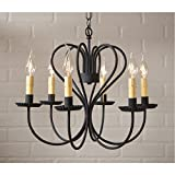 Large Georgetown Chandelier in Textured Black by Irvin's Country Tinware For Sale