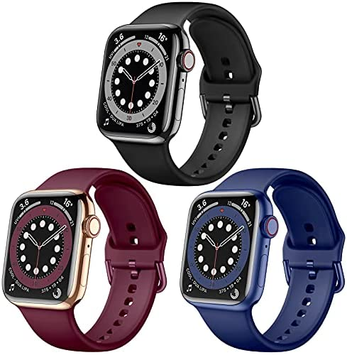 Maledan Compatible with 38mm Apple Watch Band 40mm Women Men, 3 Pack Stylish Silicone Sport Bands Wristbands Replacement Strap for 42mm 44mm Apple Watch SE Series 6 5 4 3 2 1, Black/Wine/Blue
