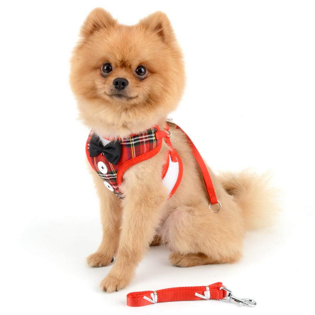 SELMAI Vest Harnesses and Leash Set for Small Dog Cat Cute Pet Adjustable No Pull Boy Puppies Tuxedo Gentleman Suit Bow Tie Decoration Velvet Soft Mesh Padded Yorkie for Walking Leads Outdoor Red M