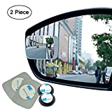 Ampper Blind Spot mirror, Rectangle HD Glass Convex Rear View Mirror, Strengthened Adhesive and Upgrade Stick Area, Pack of 2 (Upgraded)