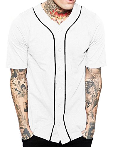 Hat and Beyond Mens Baseball Button Down Jersey Hipster Hip Hop T Shirts 1UPA01 02 (Medium, White/Black)