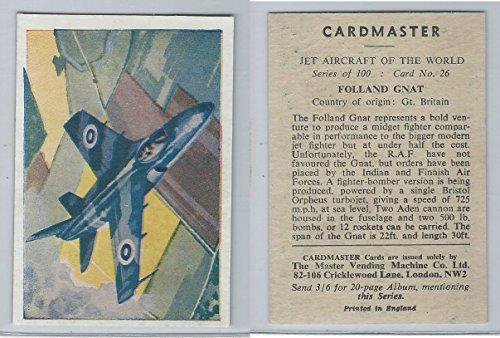 1958 Cardmaster, Jet Aircraft of World, 26 Folland Gnat, ZQL