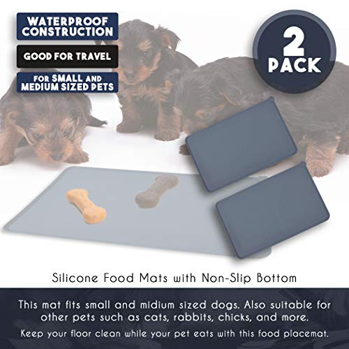 Juvale Pet Food Tray - 2-Pack Silicone Pet Food Mat, Waterproof Pet Feeding Tray with Non-Slip Bottom and Raised Edges, Grey by Juvale (Image #3)