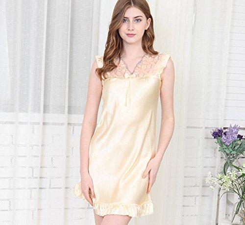 ZC&J Las mujeres hilado pijama de seda de primavera y verano Sra camisón atractivo del cordón de servicio local / falda de baño,yellow,XXXL Yellow