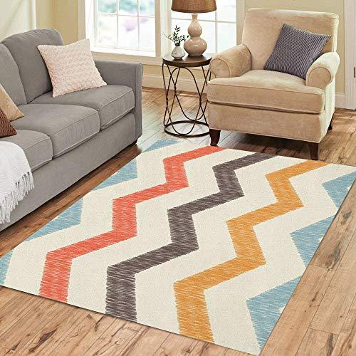 Pinbeam Area Rug Blue Zigzag Chevron Pattern Orange Abstract Artistic Contrast Home Decor Floor Rug 3' x 5' -