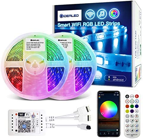 32ft Smart APP Controlled WiFi LED Strip Lights Kit,Alexa RGB LED Strips Compatible with Alexa/Google Assistan,Color Changing Sync to Music Great for Home Decoration,Atmosphere Lighting