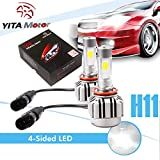 YITAMOTOR H8 H9 H11 LED Headlight Bulb 6000k 4 Side COB Led 80W 8000LM High Low Single Beam Kit Cool White Fog Light Bulbs