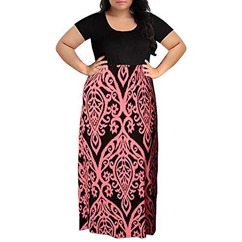 - iLUGU Women's Maxi Dress O-Neck Long Sleeve Floral Printed Casual Swing Long Maxi Dress