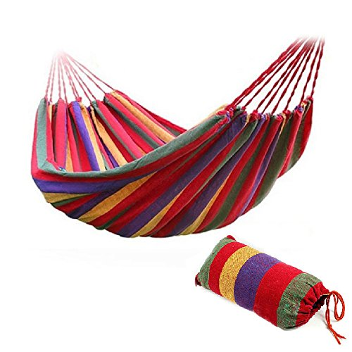 Physport Travel Camping Hammock Cotton Fabric Swing Bed Canvas Stripe Outdoor Portable with Bag - Swing Away Seat