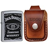 Zippo 24779 Jack Daniels Old No 7 Label Street Chrome Windproof Lighter with Zippo Brown Leather Loop Pouch
