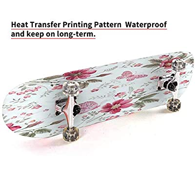 Flower Seamless Pattern with Beautiful White Lily and Wild Flowers on Outdoor Skateboard 31