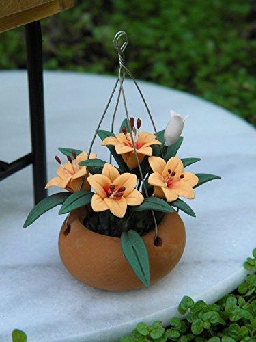 Miniature Orange (Miniature Dollhouse Fairy Garden Orange Lilies Flowers In Hanging Pot)