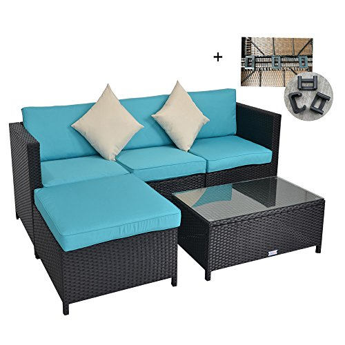 Outdoor Rattan Wicker Sofa Set Garden Patio Furniture Cushioned Sectional Conversation Sets-Easy Assembled(Black,5 Piece) Sectional Sofa Ottoman Set