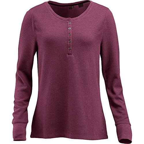 Wolverine Women's Belle Long Sleeve Thermal Henley, Plum Heather, 2X-Large
