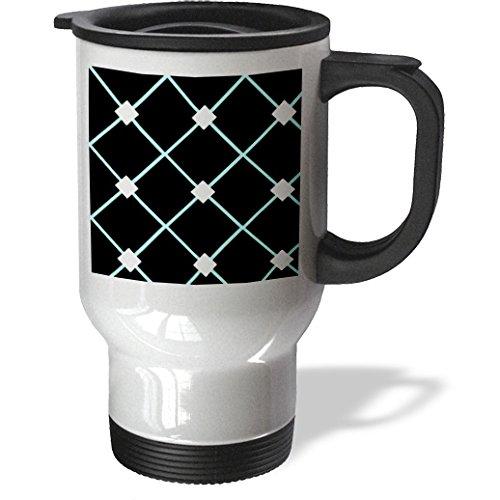 Ice Bucket - Patterns - Bright Diamond Pattern Design in Blue on Black Background - 14oz Stainless Steel Travel Mug (tm_211991_1)