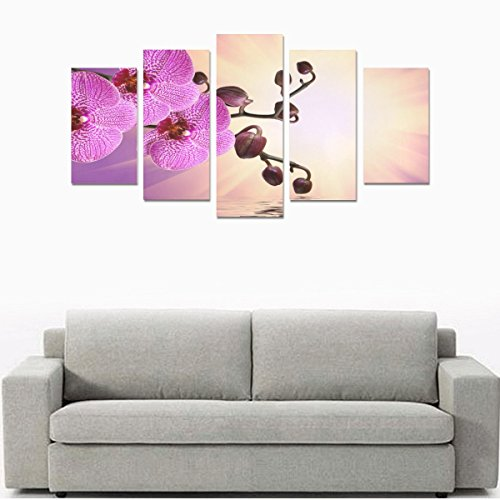 Unique Landscape Art Oil Painting Decoration Purple Water Orchid Custom 100% Canvas Canvas Print Bedroom Wall Paintings Living Room Mural Decoration 5 Piece Canvas painting (No Frame) by sentufuzhuang Canvas Printing