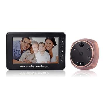 XC Cámara de Espejo de Puerta Mirilla de intercomunicación Digital de 4.3 Pulgadas, detección de