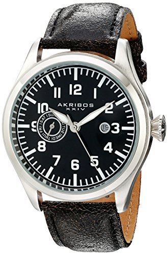 Akribos XXIV Men's AK785SSB Swiss Quartz Movement Watch with Black Dial and Leather Strap