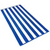 KAUFMAN - 32in x 62in Velour Cabana Stripe Towels (Blue/White)