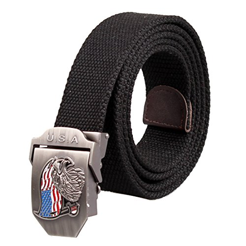Big Brass Buckle (ALAIX Men's Military Style Tactical Canvas Web Belt Adjustable 1.5'' With Antique Brass Buckle Many Colors)