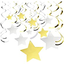 30-Count Hanging Decorations - Party Streamers, Gold and Silver Foil Star Whirls, Hanging Party Decor for Weddings, Baby Showers, Graduation - Hanging Length: 30.5 to 38.25 Inches