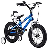 "Y & Y TOY STORE ON LINE ROYAL BABY FREESTYLE KIDS BIKES WITH STABILIZERS IN SIZE 14' BLUE+WATER BOTTLE AND HOLDER. (BLUE, 14"")"