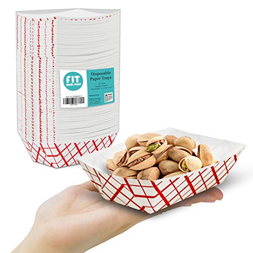 [250 Pack] 0.25 lb Red and White Paper Food Trays - Grease Resistant Paperboard Boat Basket, Disposable Serving Containers, Appetizers Desserts Sampling Portion, Fast Food Party Fairs Picnic Carnival ()