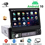 "1 Din Navigation Car Stereo Android 10 Single Din Radio Bluetooth 7"" Touch Screen Car CD DVD Player Indash Headunit GPS Detachable FM/AM RDS Radio Receiver Free Backup Camera Support Mirrorlink ODB2"