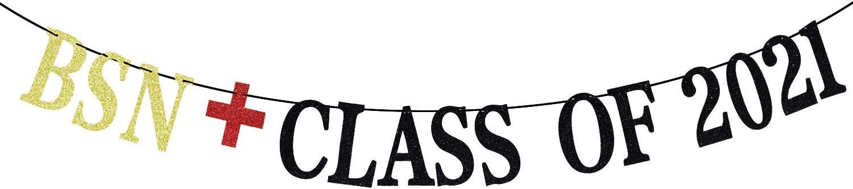 Gold Glitter BSN Class of 2021 Banner - Congrats Grad Bunting Sign - Nursing School Graduation/College Grad Party Decorations Supplies - Graduation Party Backdrop