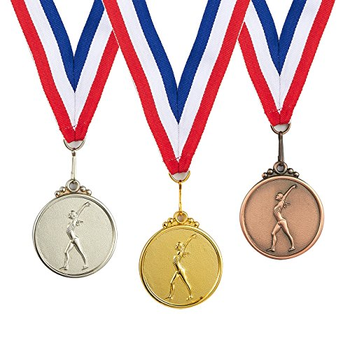 - Juvale 3-Piece Award Medals Set - Metal Olympic Style Gymnastics Gold, Silver, Bronze Medals for Sports, Games, Competitions, Party Favors, 1.9 Inches in Diameter with 32-Inch Ribbon