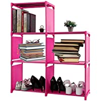 Dorfin 3-tier Storage Cube Closet Organizer Book Shelf 5-cube Cabinet Bookcase for a Variety of Items Pink