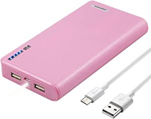 LQM 20000mAh Dual USB External Battery Backup Power Bank for Apple iPhone 6, 6 Plus 5S 5C 5 4S 4,iPad Air Mini 2, HTC One, One 2 (M8), Samsung Galaxy S6 Edge, S6 S5 S4 S3, Tab 4 3 2 Pro (pink)