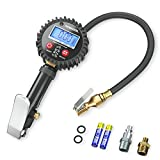 Acekool Digital Tire Inflator with Pressure Gauge,250 PSI Heavy Duty Air Chuck Tire Inflator & Deflator Tool with Rubber Hose, Quick Connect Coupler and 1/4'' NPT for Trucks, Automobiles and Motorcycle