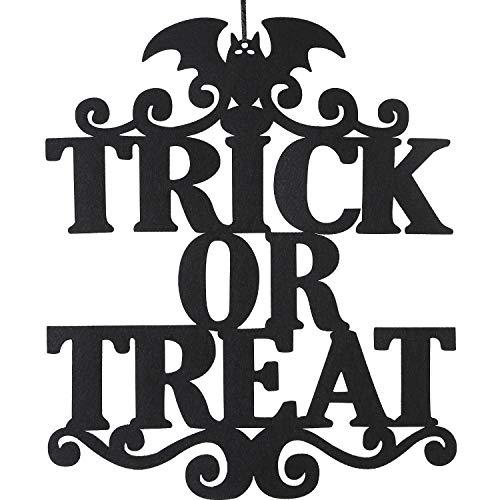 Jetec Halloween Trick Treat Hanging Sign Decoration Door Wall Hanging Signs Halloween Themed Party School Office Home Supplies