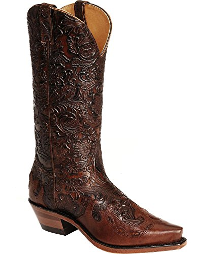 Boulet Women's Hand Tooled Calf With Wingtip Cowgirl Boot Snip Toe Tan 5.5 M US - Tooled Wingtip