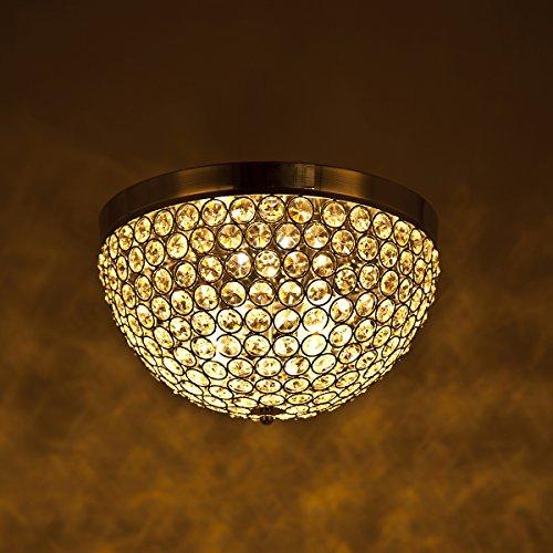 Letsun Crystal Ceiling Light Flush Mount Light Fixture Close to Ceiling Light Chandelier Lighting, Elegant Design, Ellipse, Chrome, E12