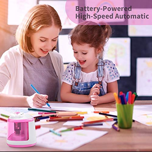 Electric Pencil Sharpener Battery Operated Automatic Pencil Sharpener with 1PC Replacement Blades, Manual and Electric Free to Switch, Anti-Slip (Pink)