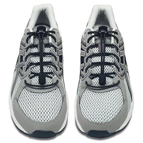 LOCK LACES (Elastic No Tie Shoe Laces) (Pack of 2) (Black-Black)